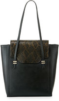 Neiman Marcus Mag Faux-Leather Tote Bag, Black