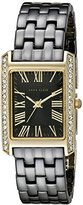 Anne Klein Women's AK/2138BKGB Swarovski Crystal-Accented Gold-Tone and Black Ceramic Bracelet Watch
