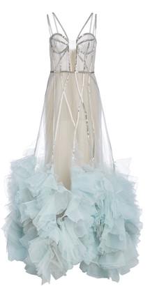 Marchesa Embellished Ruffled Organza Gown