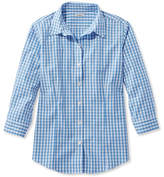 L.L. Bean Wrinkle-Free Pinpoint Oxford Shirt, Three-Quarter Sleeve Slightly Fitted Gingham
