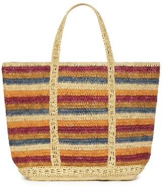 Vanessa Bruno Large Striped Raffia Cabas Tote Bag