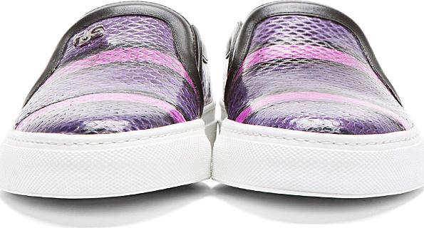 Givenchy Purple Striped Snakeskin Slip-On Shoes