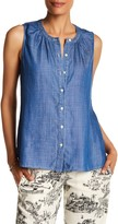 Tommy Bahama Chambray Sleeveless Front Button Blouse