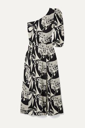 Reformation Lawrence One-sleeve Printed Crepe De Chine Midi Dress - Black