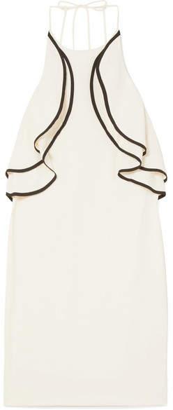 Halston Ruffled Crepe Halterneck Mini Dress - Cream