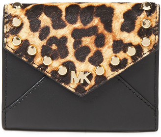 MICHAEL Michael Kors Studded Leopard-print Calf Hair And Leather Wallet