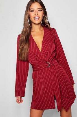 boohoo Petite Pinstripe Tie Side Blazer Dress