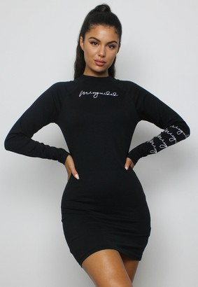 Missguided Black Crew Neck Long Sleeve Mini Dress
