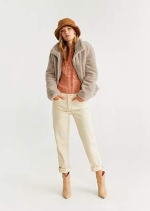MANGO Faux fur jacket medium brown - XXS - Women