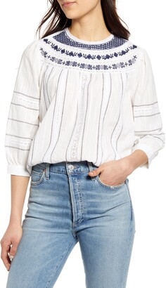 Lucky Brand Zoey Embroidered Cotton Peasant Blouse