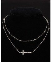 Lois Hill Silver Black Onyx 38in Cross Necklace.