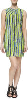 Andrew Marc Sleeveless Citron Striped Dress
