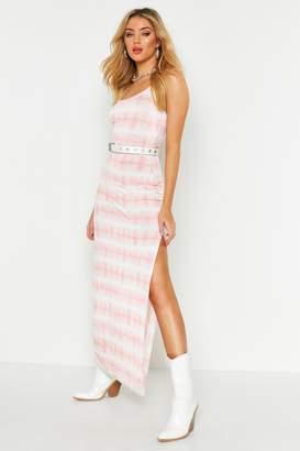 boohoo Tie Dye Side Split Maxi Dress