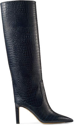 Jimmy Choo MAVIS 85 Navy Croc Embossed Leather Knee High Boots