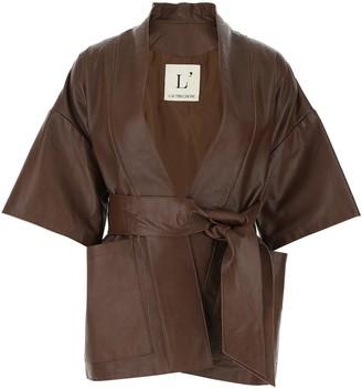 L'Autre Chose Belted Short-Sleeve Wrap Jacket