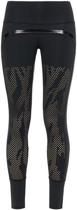 adidas by Stella McCartney Metallic-trimmed Perforated Stretch Leggings