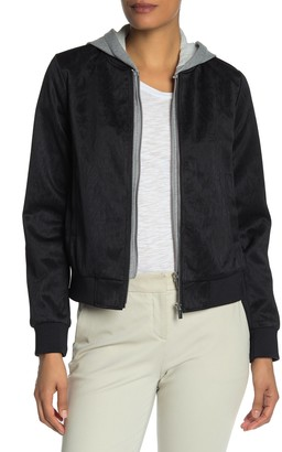 Laundry by Shelli Segal Removable Hood Jacquard Bomber Jacket