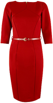 Closet Panel Belted Bodycon Dress, Red