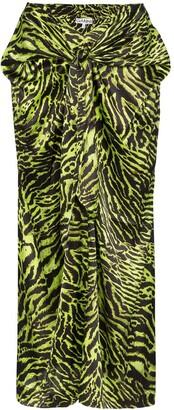 Ganni Tiger Print Wrap Front Skirt