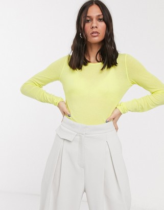 Weekday Teresa long sleeve top in acid yellow