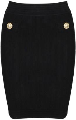Balmain Ribbed High Waisted Skirt