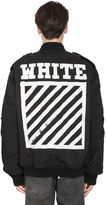 Off-White Stripes Printed Canvas Bomber Jacket