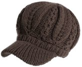 Siggi 100% Lamb Wool Thick Knitted Visor Hat for Women Newsboy Bill Caps Coffee