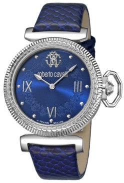 Roberto Cavalli By Franck Muller Women's Swiss Quartz Blue Calfskin Leather Strap Watch, 38mm