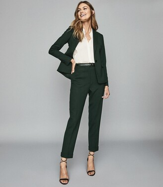 Reiss Ginnie Trouser - Slim Fit Tailored Trousers in Bottle Green