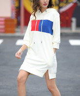 Z Avenue Women's Casual Dresses Cream - Cream Color Block-Accent Hooded Dress - Women & Plus