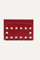Valentino The Rockstud Leather Cardholder - Red