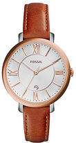 Fossil Jacqueline Rose Goldtone Stainless Steel Saddle Leather Strap Watch