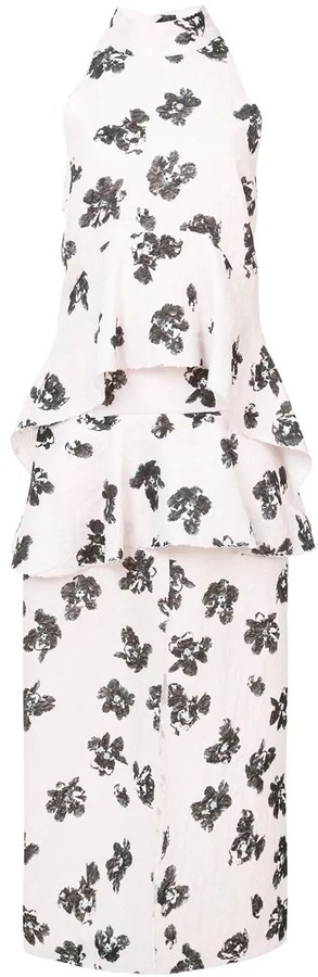 Proenza Schouler White Foral Print Linen Dress