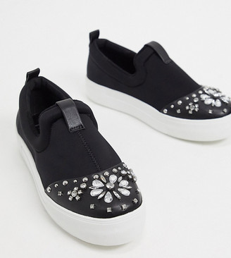 Simply Be wide fit stud detail plimsoles in black