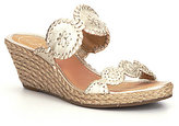 Jack Rogers Shelby Leather Whipstitched Double Banded High Wedge Espadrilles