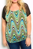 Blue Note Plus-Sized Colorful Top