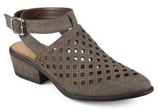 Brinley Co. Womens Faux Suede Open Back Laser Cut Ankle Booties
