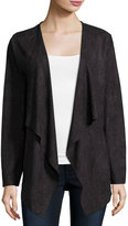 Neiman Marcus Long-Sleeve Faux-Suede Cardigan, Black