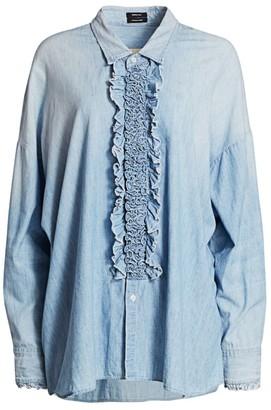 R 13 Ruffle Denim Tuxedo Shirt