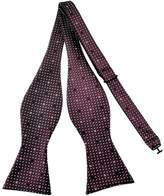 Pense'e Pensee Mens Self Bow Tie Dark Red and White Dot Jacquard Woven Silk Bow Ties