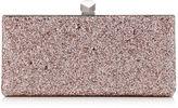 Jimmy Choo CELESTE/S Tea Rose Metallic Coarse Glitter Fabric Clutch Bag with Cube Clasp