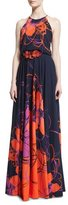Badgley Mischka Floral-Print Halter Gown w/Beaded Applique