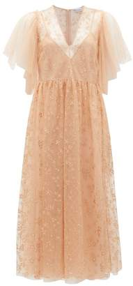 RED Valentino Painted-flower Tulle Midi Dress - Womens - Light Pink
