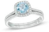 Zales Precious BrideTM 6.0mm Aquamarine and 1/4 CT. T.W. Diamond Frame Bridal Set in 14K White Gold