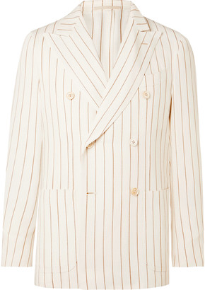 Monroe Ivory Unstructured Double-Breasted Striped Hopsack Suit Jacket