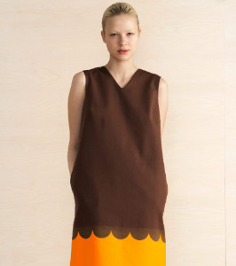 Marimekko Raila Lanketti Print Sleeveless Dress - 38 - Brown/Orange