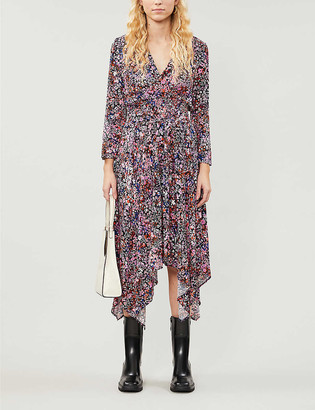 Maje Rayemi floral-print woven midi dress