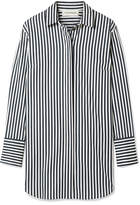 By Malene Birger Isadora Oversized Striped Cotton-blend Shirt - Blue