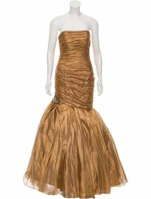 Jovani Ruffled Maxi Dress w/ Tags Gold