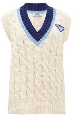 Prada Striped V-neck Cotton Cable-knit Sweater - Ivory